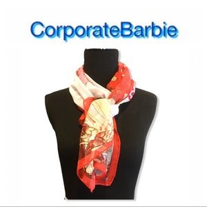 New in Packaging Red Geisha Print Scarf